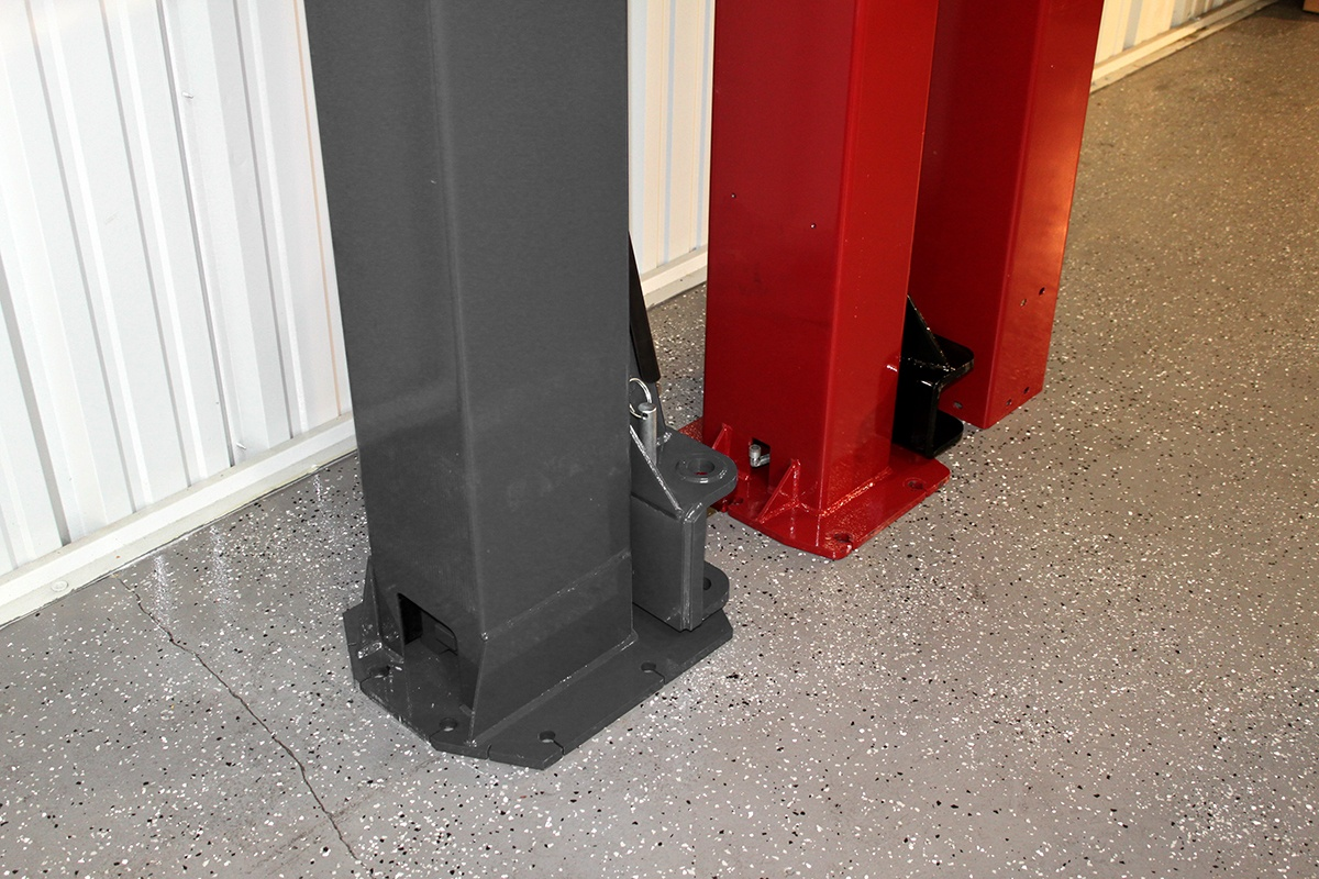 Bottom of Two-Post lift BendPak Compared to Challenger Lift